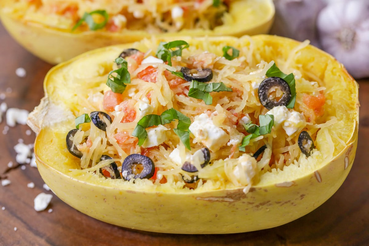 Baked Spaghetti Squash with feta and tomatoes