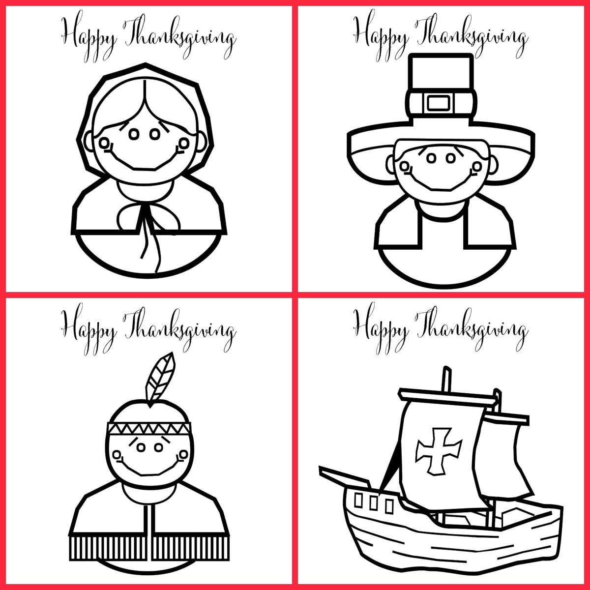 FREE Printable Thanksgiving Coloring Pages | Lil\' Luna
