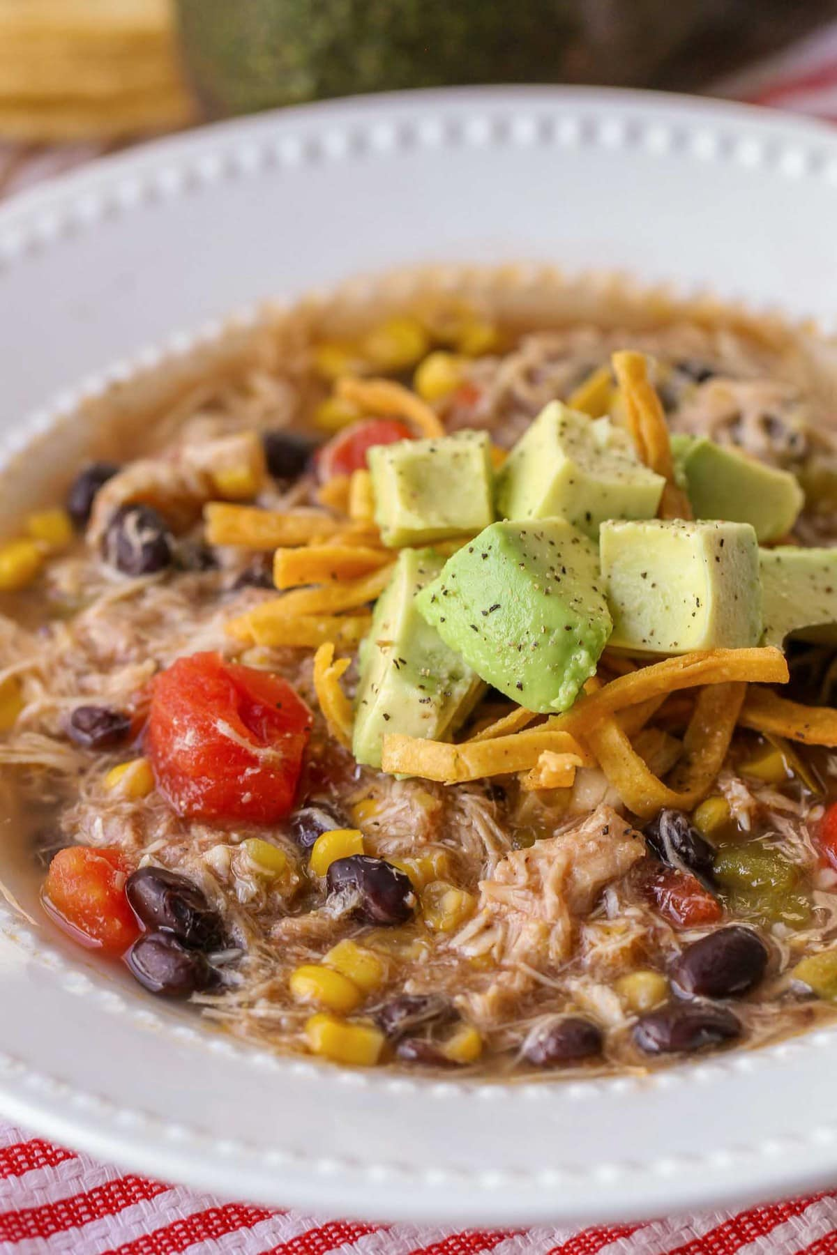 Chicken Tortilla Soup Crock Pot in bowl