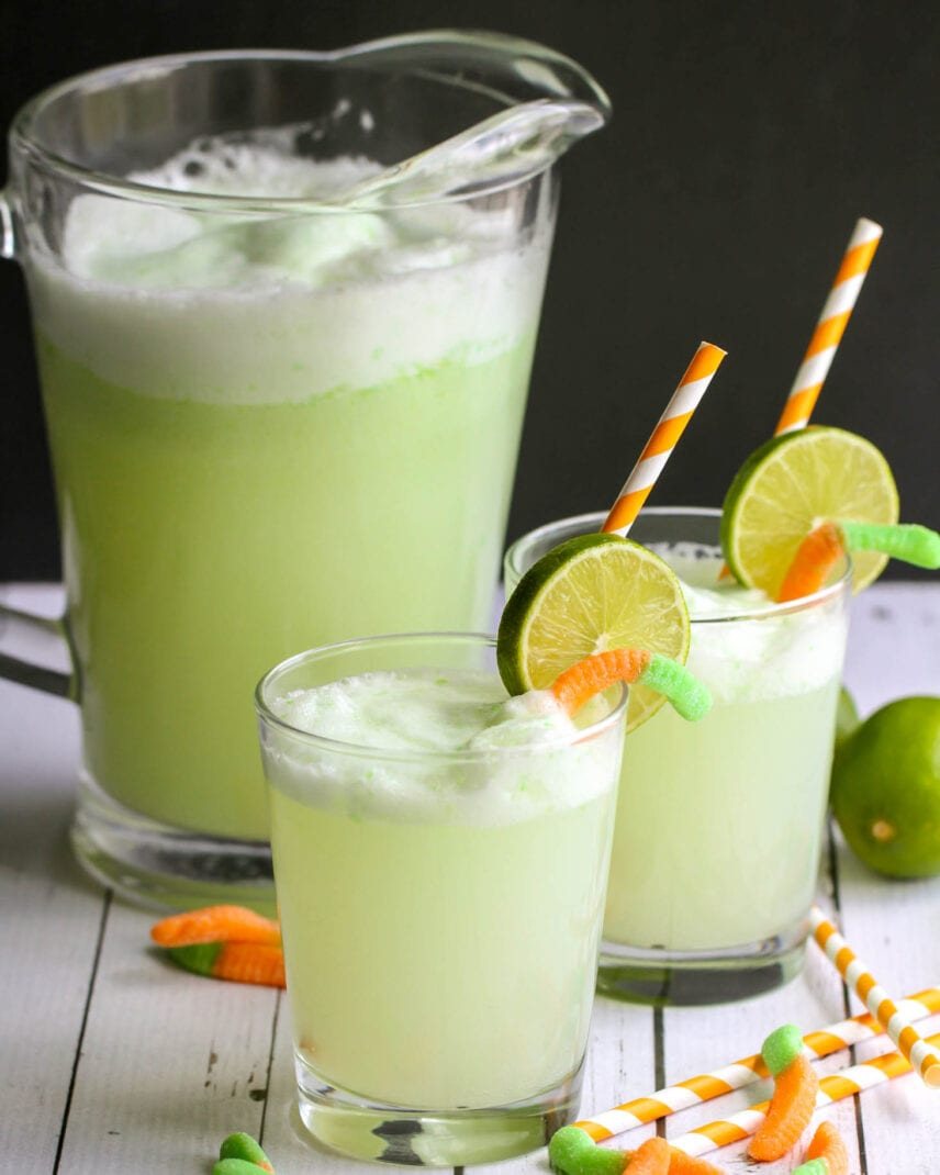 Witches brew recipe with limes and gummy worms