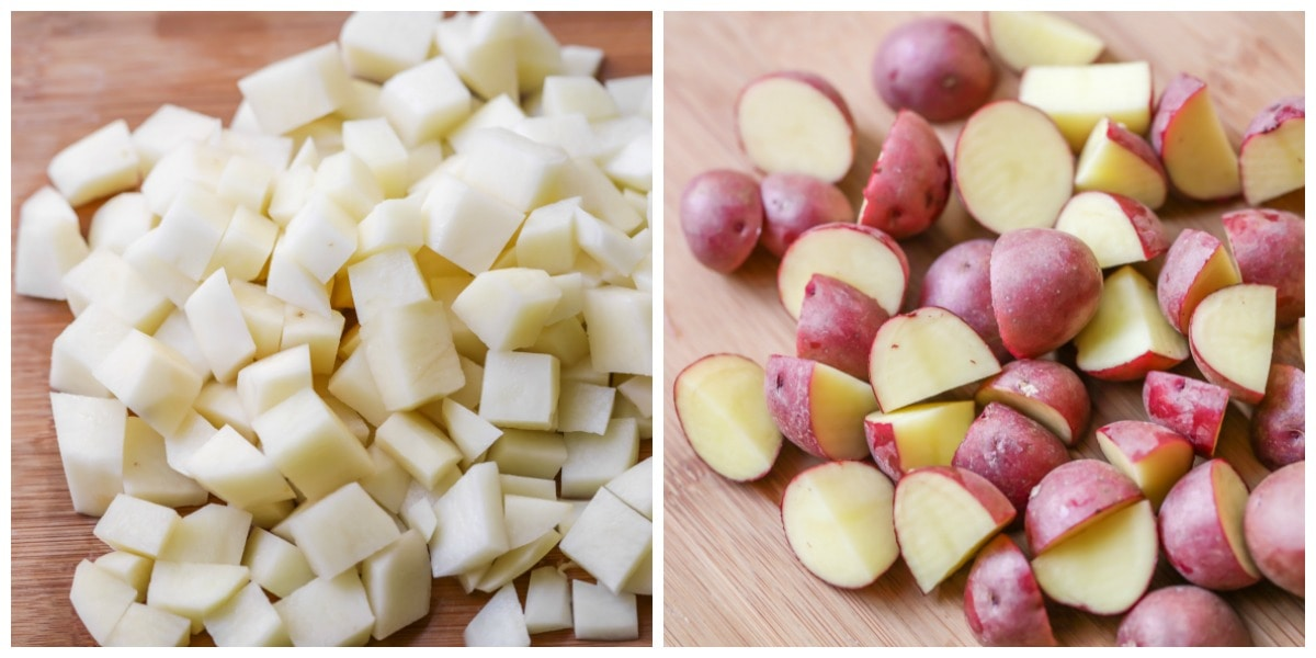 chopped russet potatoes and red potatoes