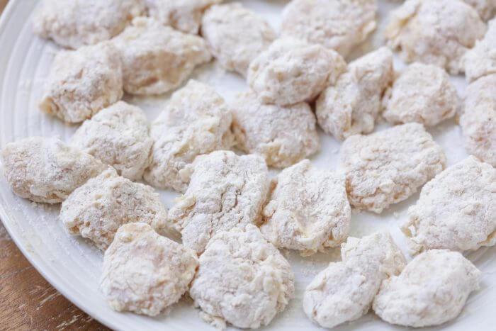 Homemade boneless wings dredged in flour