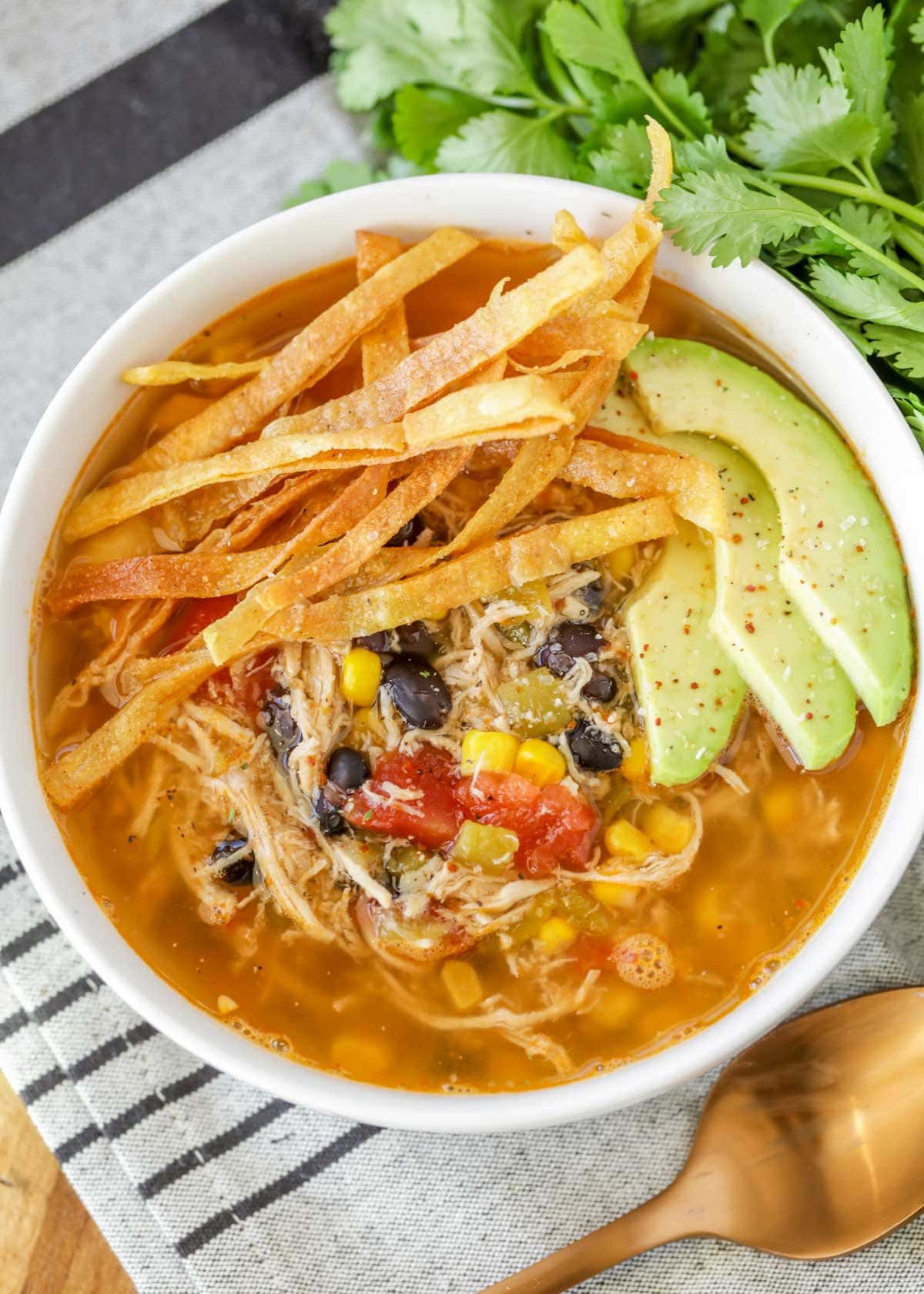 Chicken Tortilla Soup recipe in bowl with tortilla strips and avocado