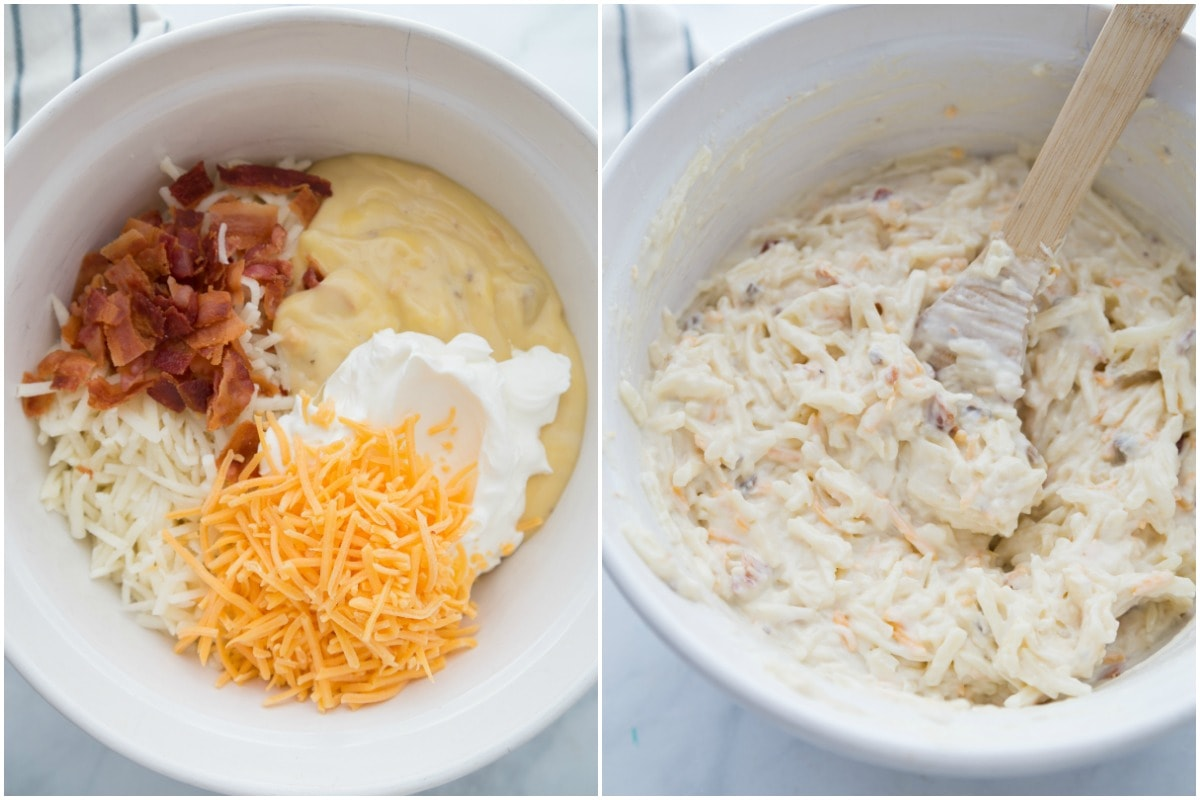 Hashbrown casserole ingredients mixed in bowl