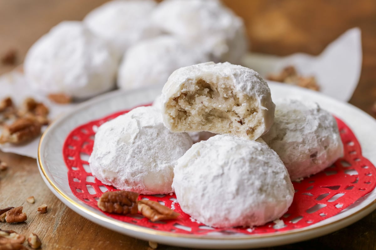 Snowball Cookies on Christmas plate