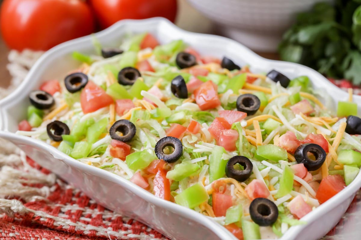 Taco Dip in a white serving dish