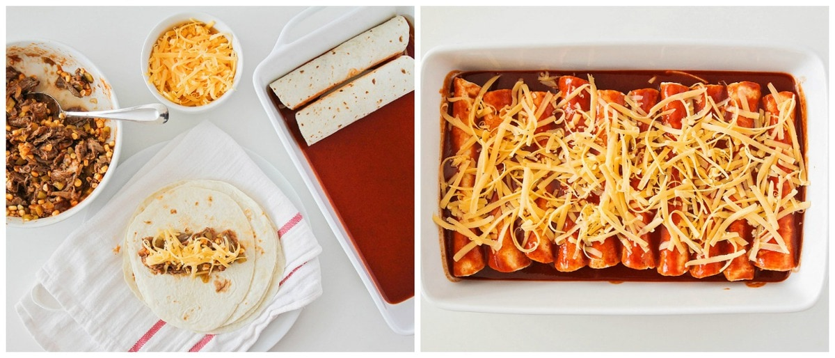 Step by step pictures of how to make Beef Enchiladas