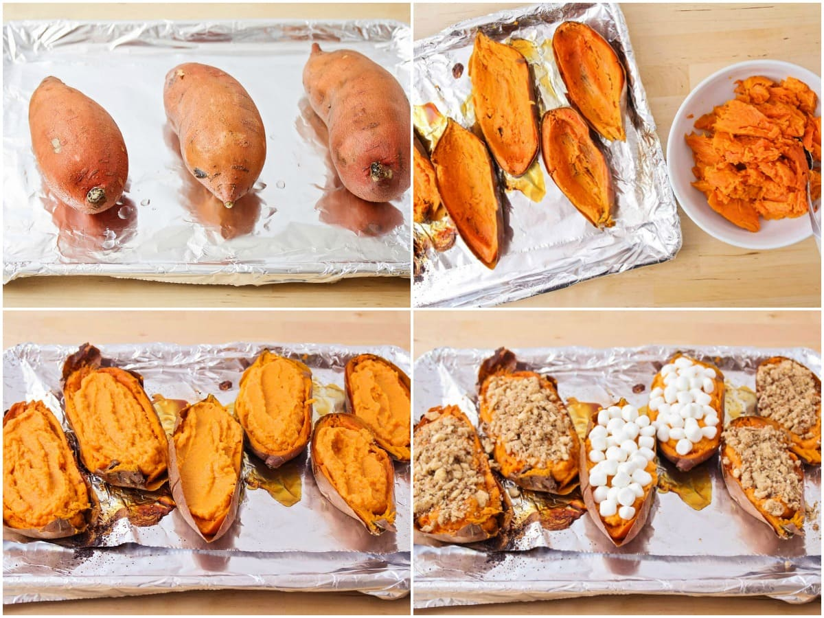 Step by step process pictures of cutting, filling, and twice baking sweet potatoes