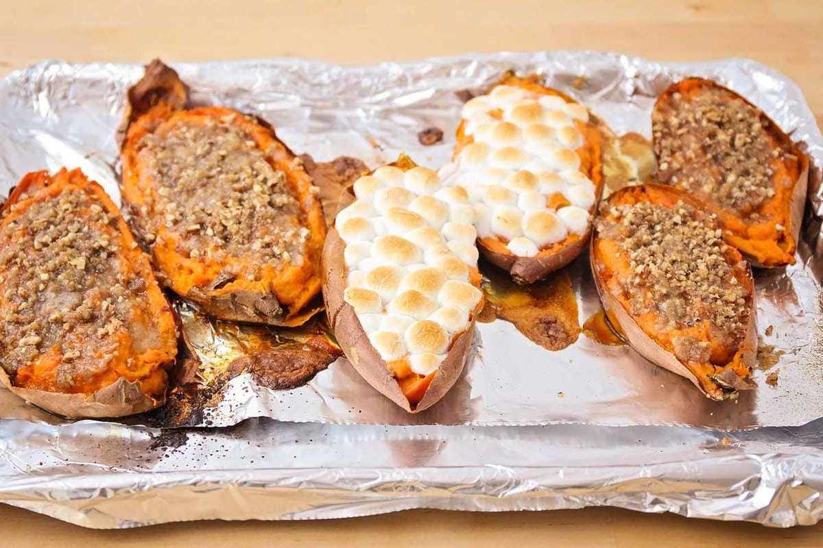 Twice baked sweet potatoes with marshmallow topping and streusel topping