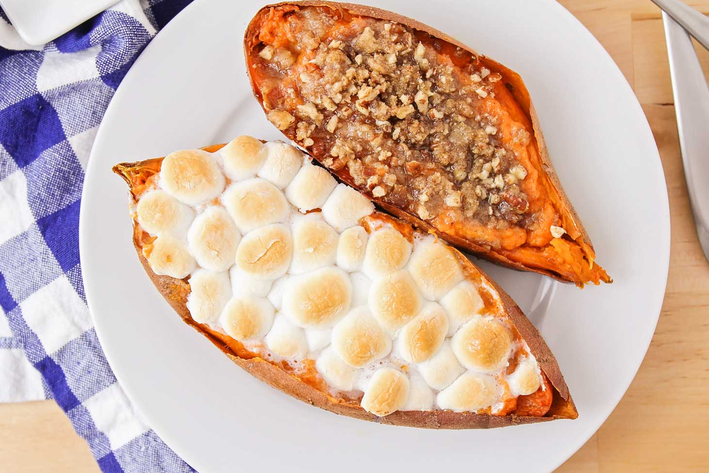 Twice baked sweet potatoes on a white plate