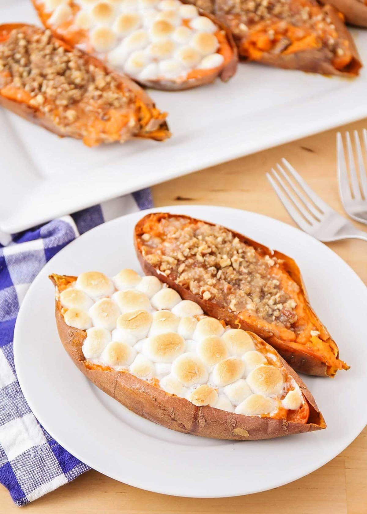 close up of twice baked sweet potato recipe