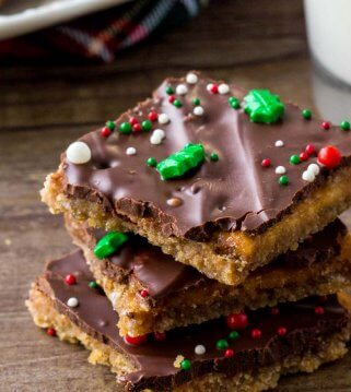 Christmas Crack - or saltine cracker toffee - is a delicious homemade candy with crackers, caramel & chocolate