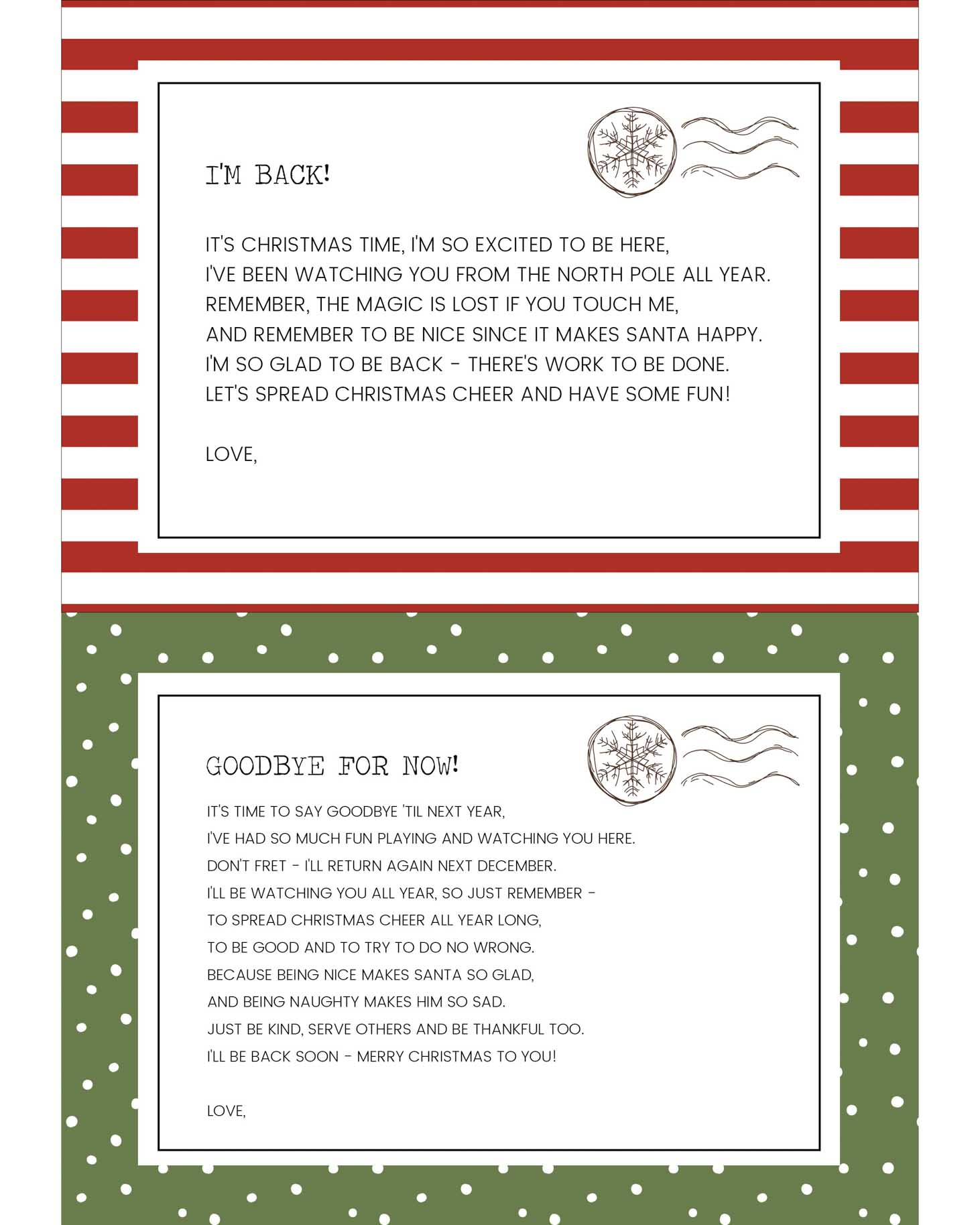 Elf on the Shelf Letters - Elf on the Shelf Goodbye Letter