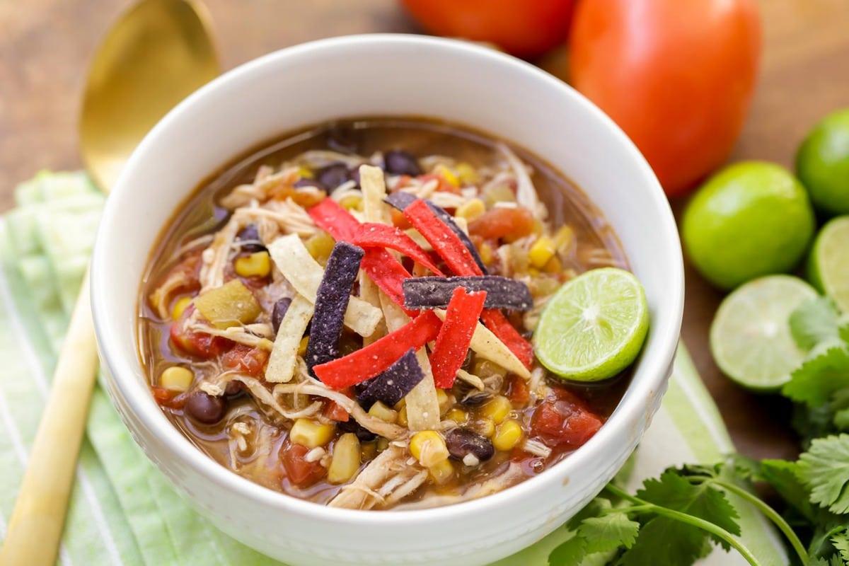 Easy crock pot soups - healthy chicken tortilla soup in a bowl
