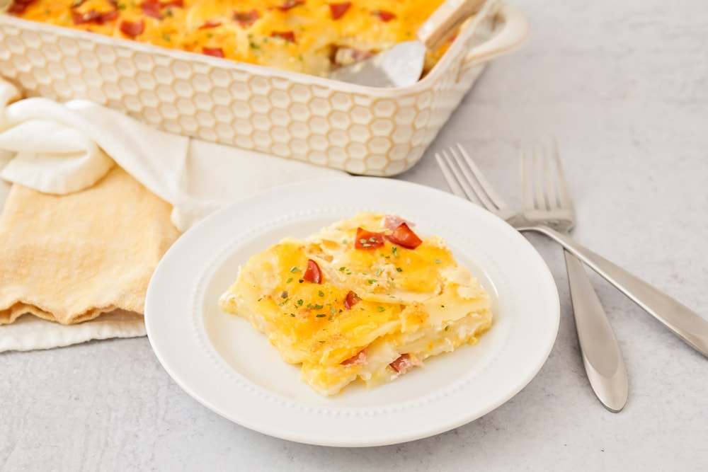 Scalloped potatoes and ham recipe on dish