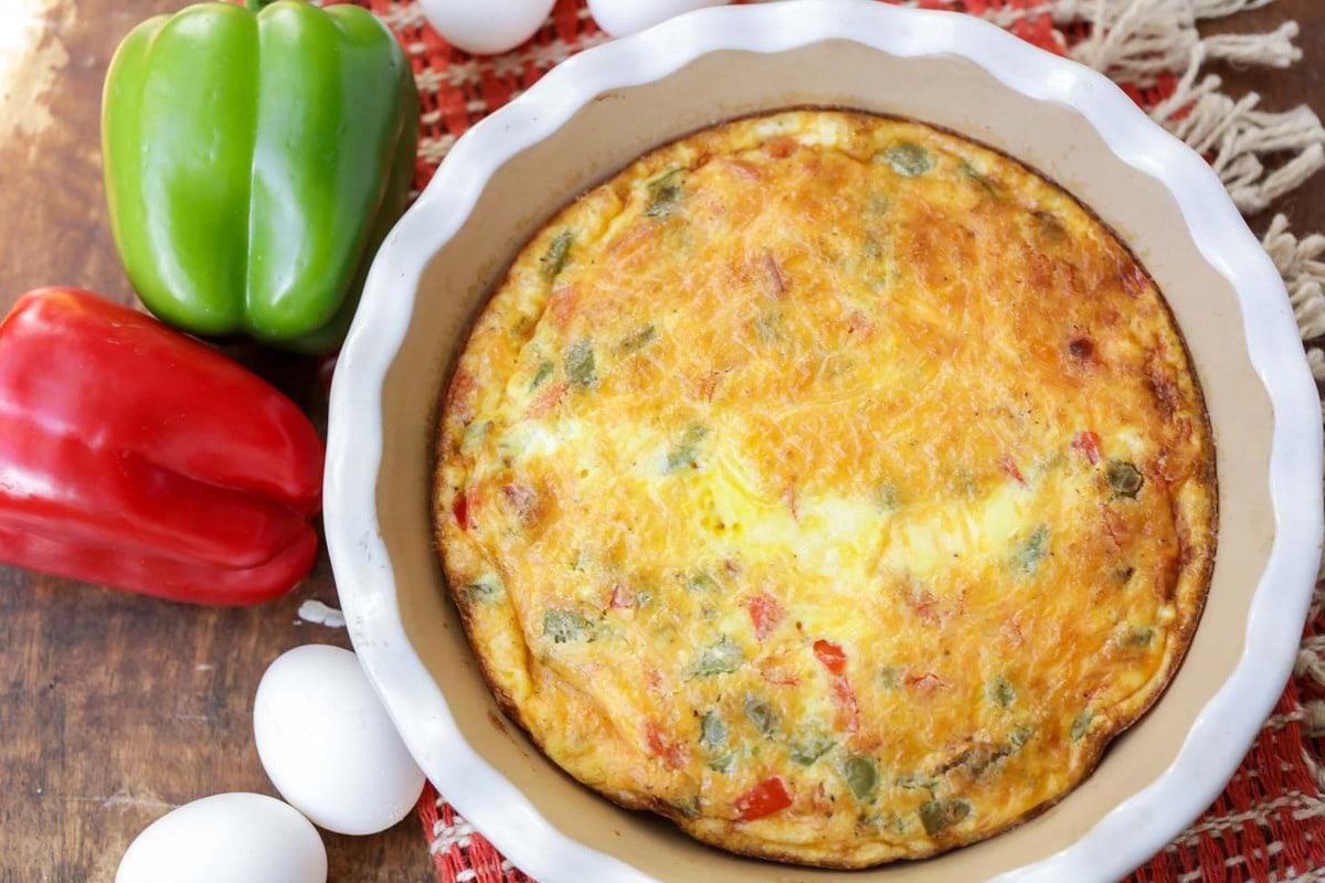 Baked Denver Omelet in dish