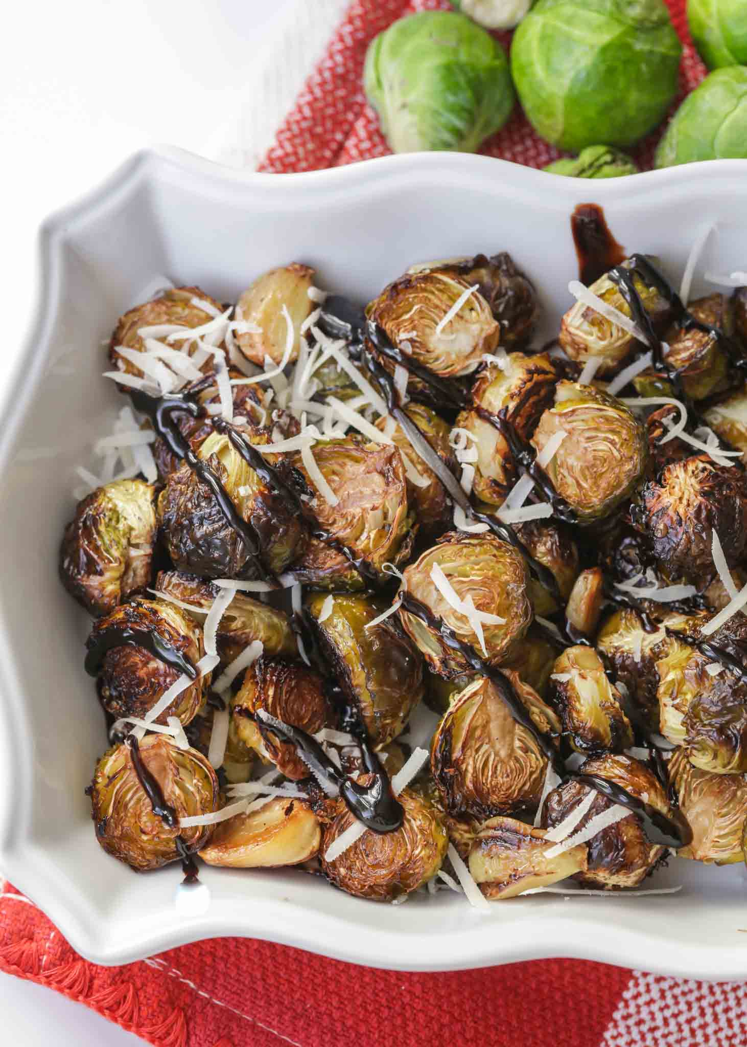 Roasted Brussel Sprouts with Balsamic in dish