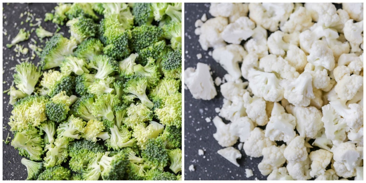 Chopped Broccoli and Cauliflower for salad