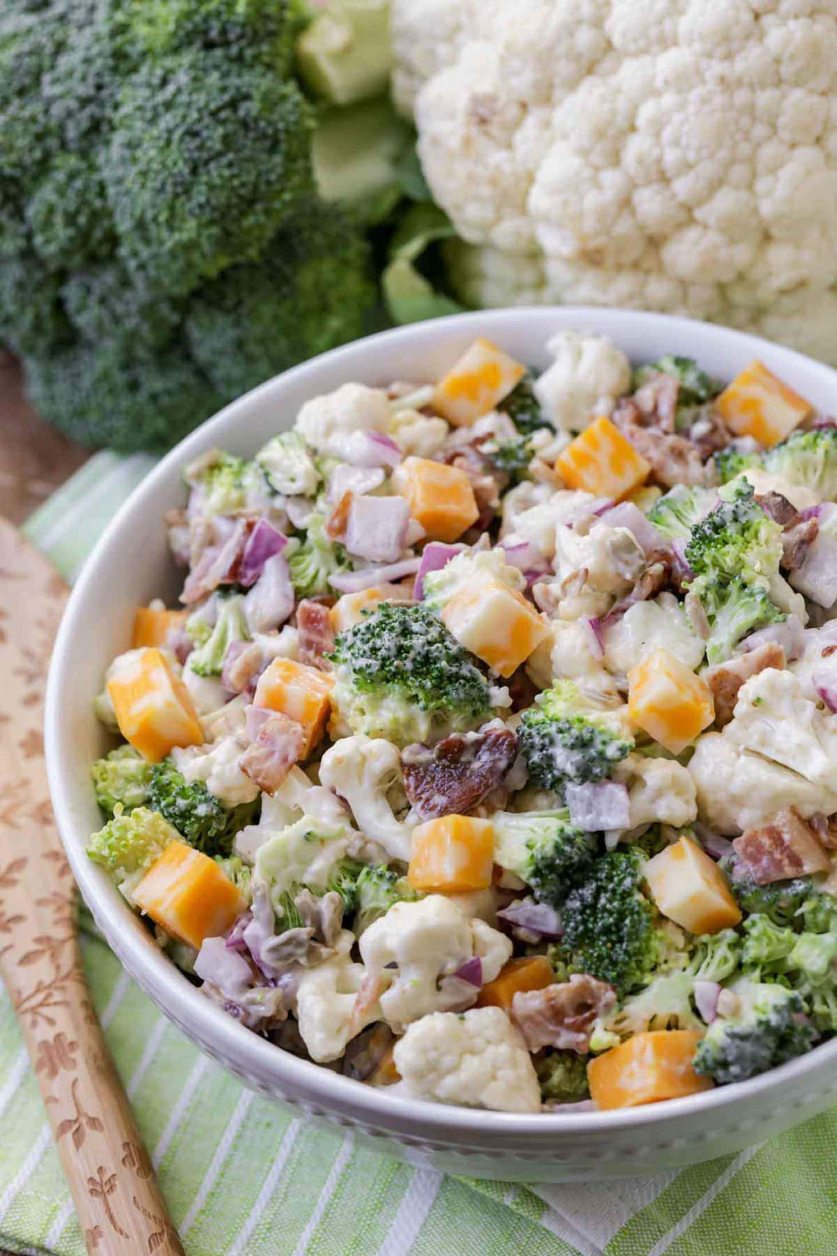 Broccoli Cauliflower Bacon Salad in white bowl