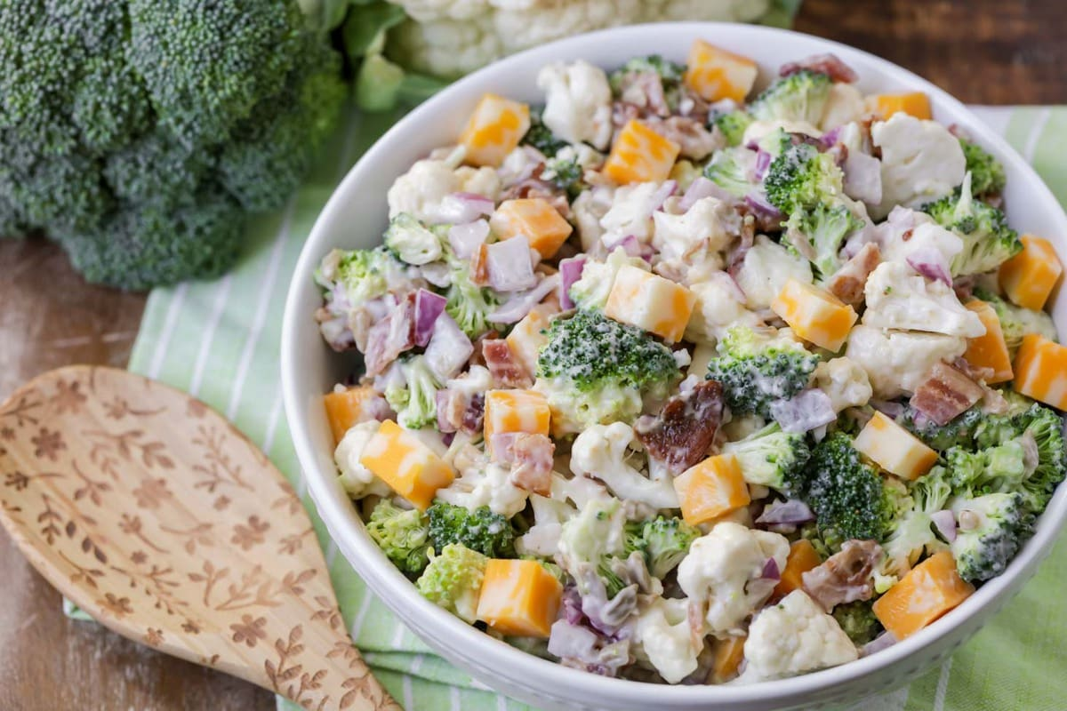 Broccoli Cauliflower Salad in bowl