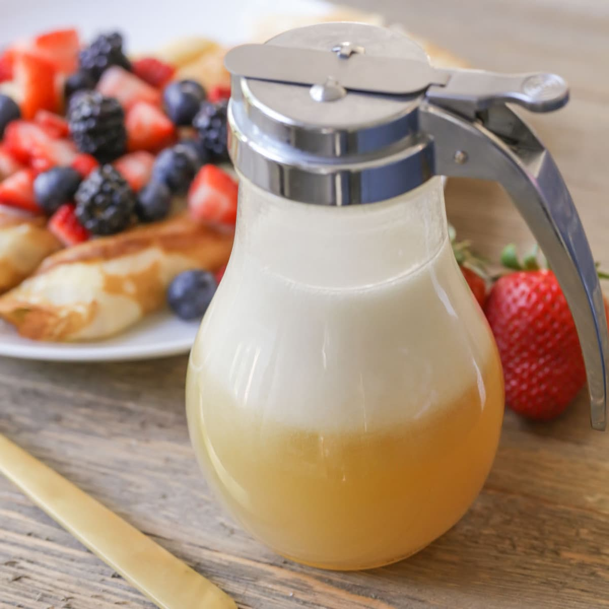 Buttermilk syrup in a syrup dispenser