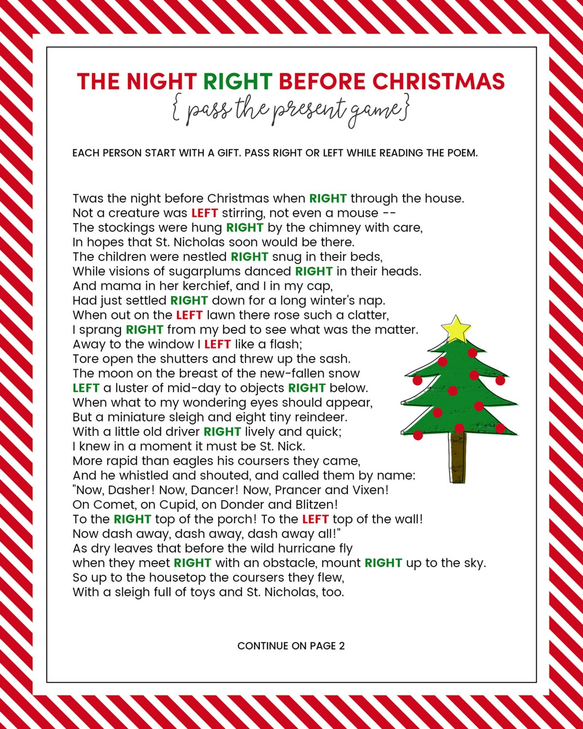photograph relating to Christmas Left Right Game Printable identified as Still left Immediately Xmas Recreation - Absolutely free PRINTABLE Lil Luna