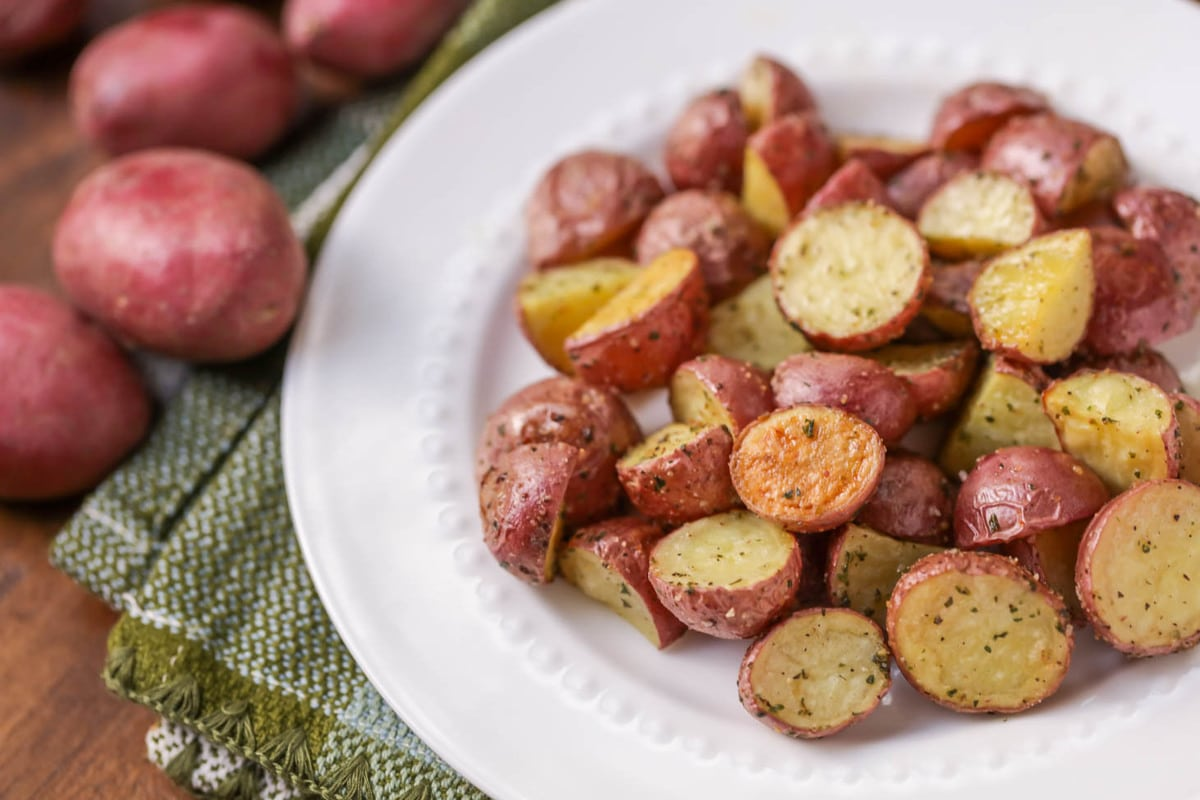Christmas potato recipes - roasted red potatoes on plate