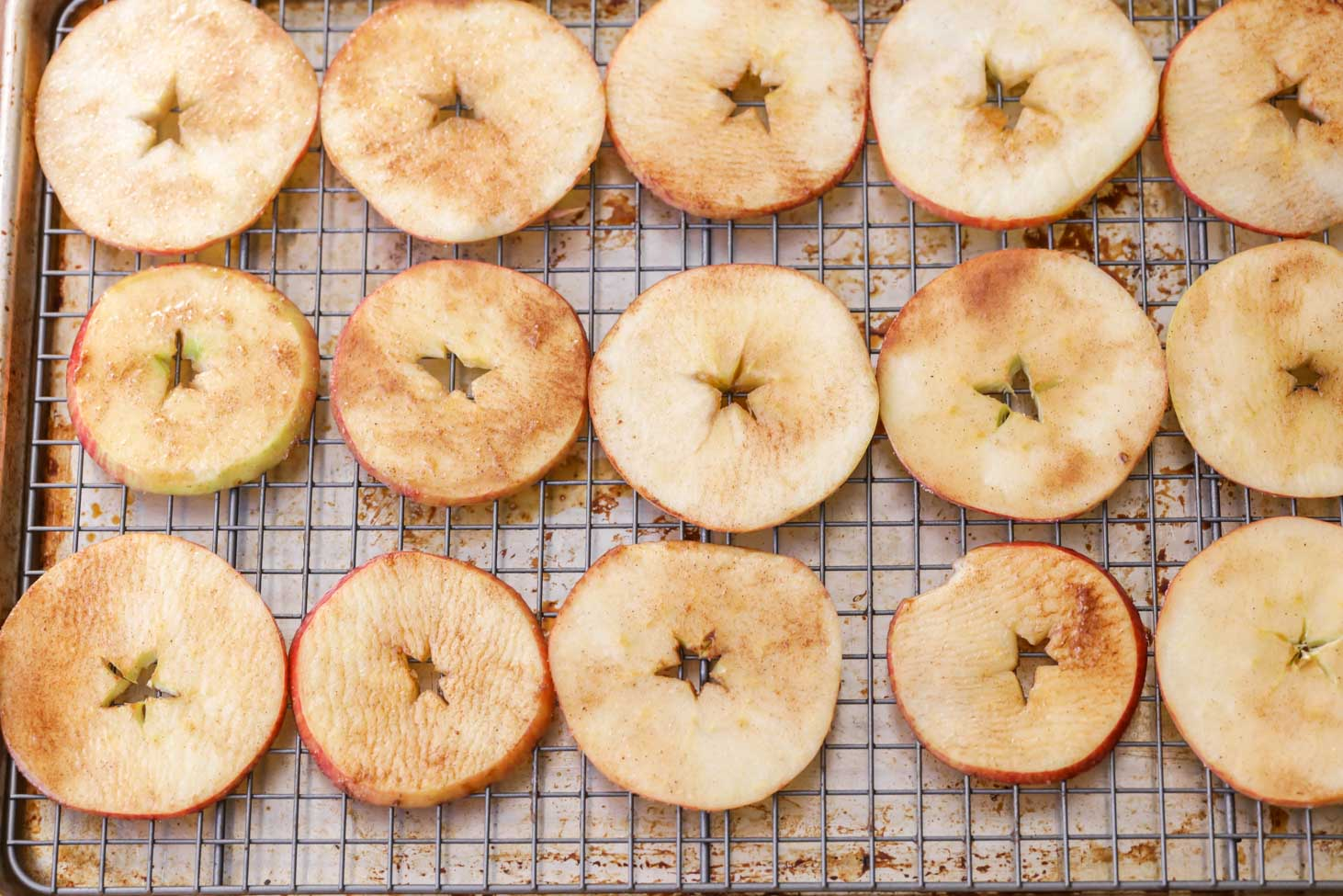 How to Make Apple Chips - lined on rack over cookie sheet