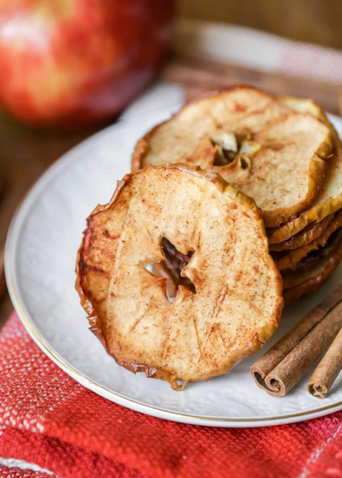 Baked Apple Chips Recipe stacked on plate
