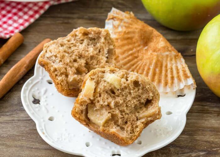 Healthy Apple Muffins on a white plate