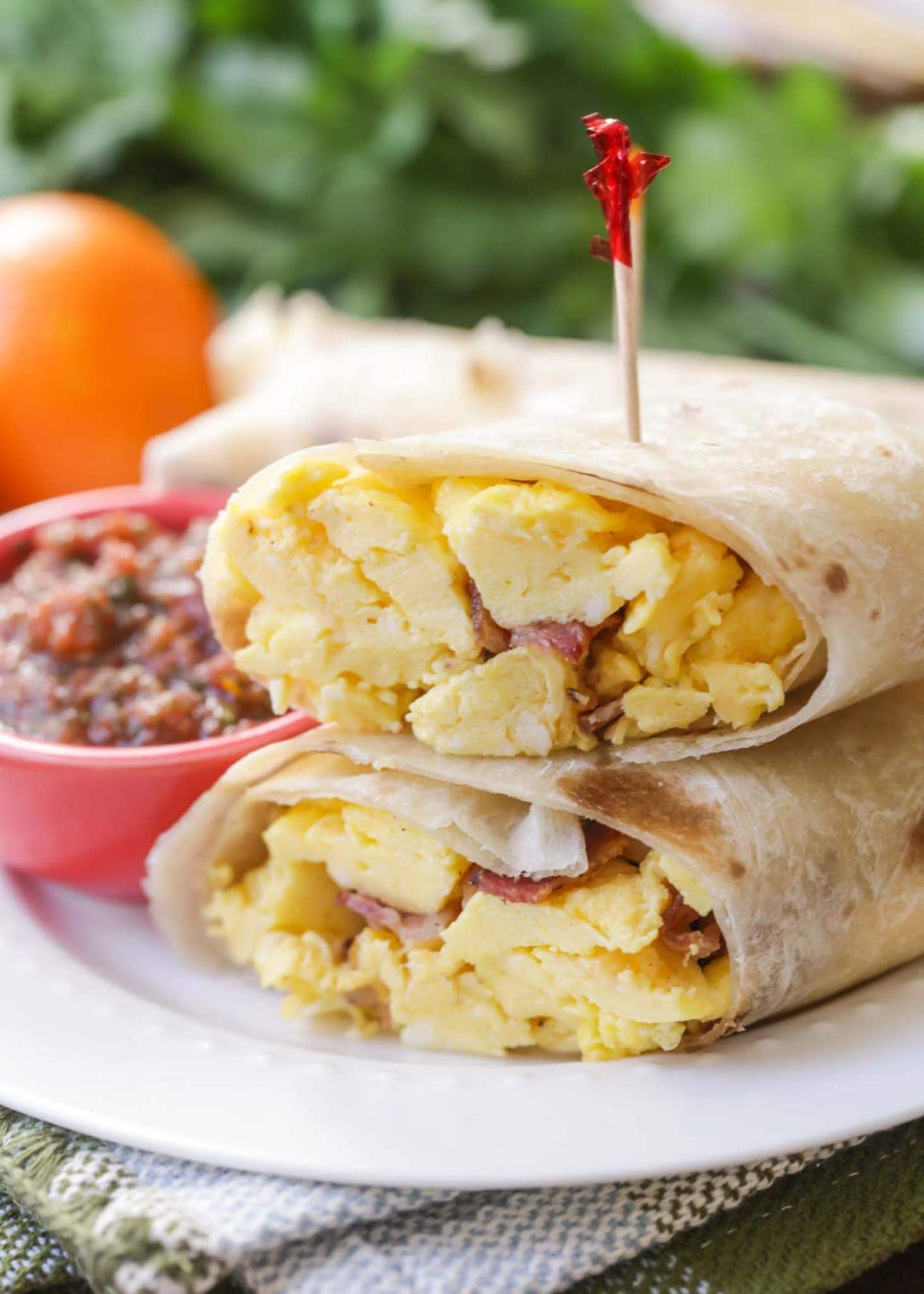 Best Breakfast Burrito Recipe cut in half on plate