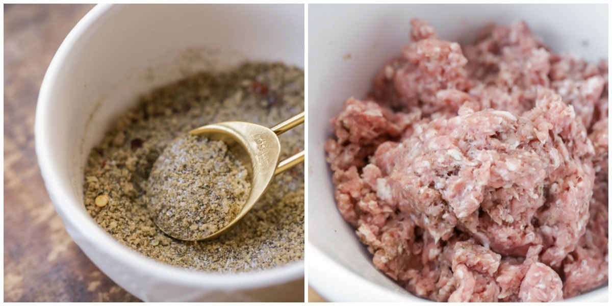 Breakfast Sausage Recipe ingredients in bowl