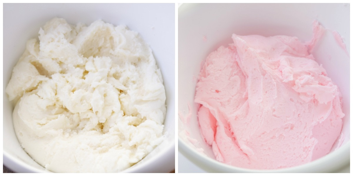 Cream Cheese butter mints ingredients mixed in bowls