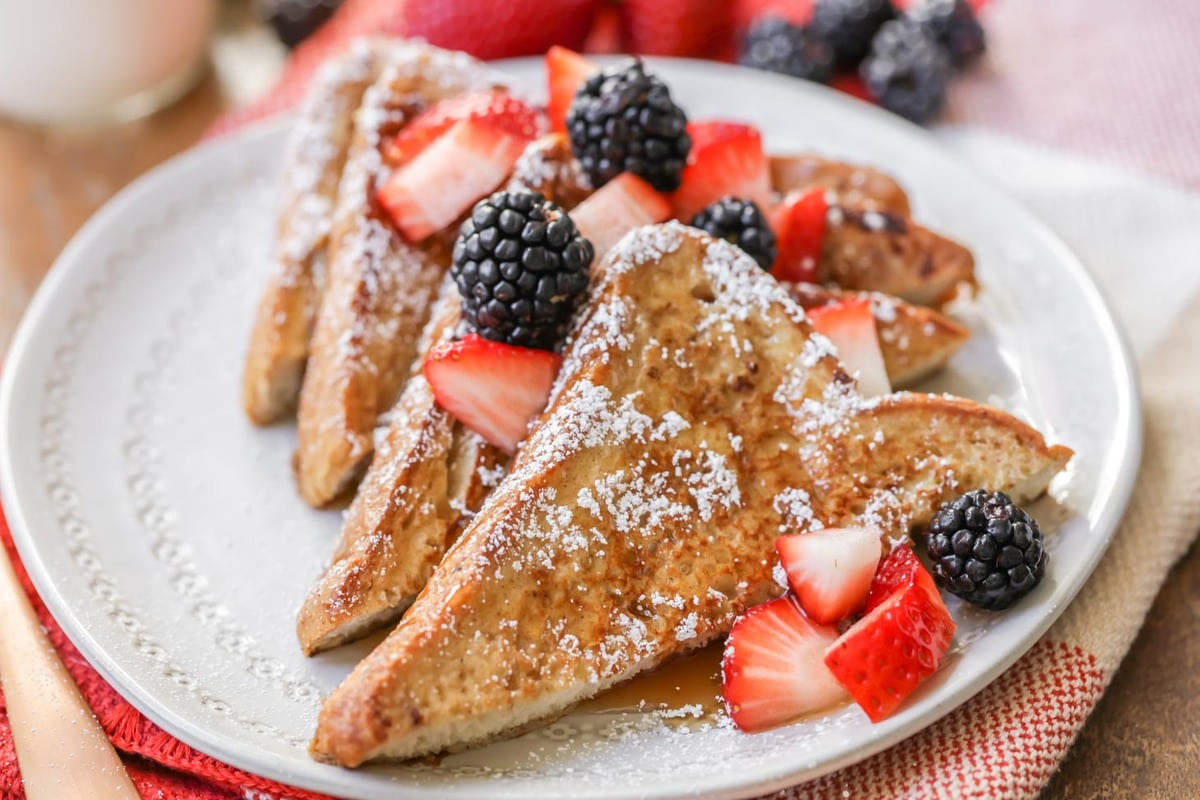 Classic French Toast Recipe with berries on plate