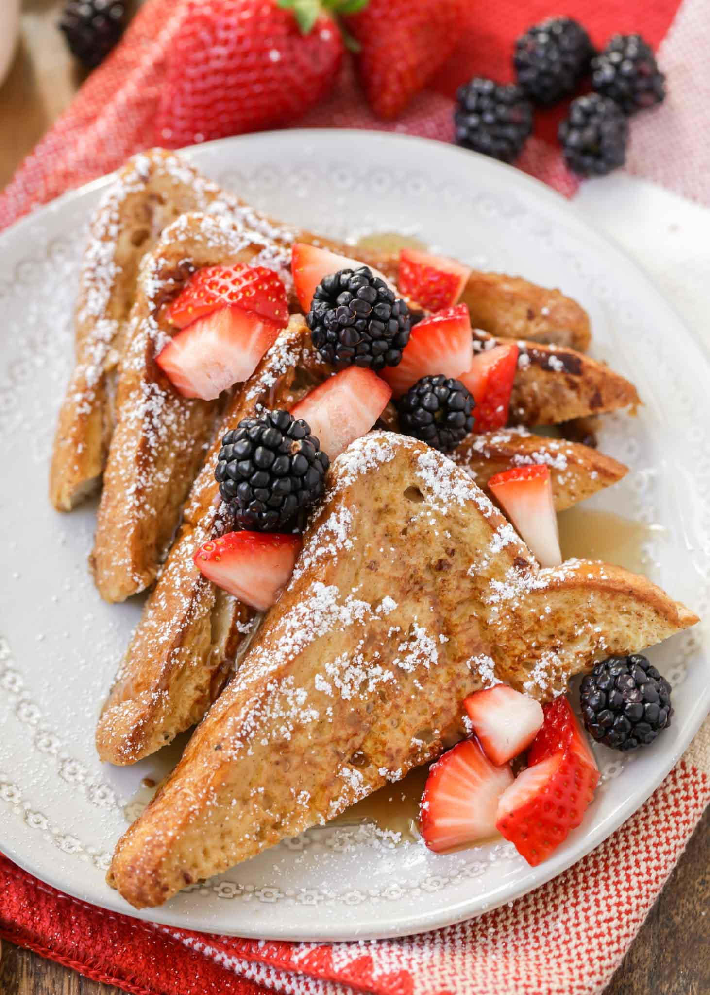 Easy French Toast recipe with berries on plate
