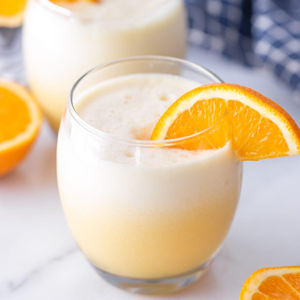 Orange julius served in a glass