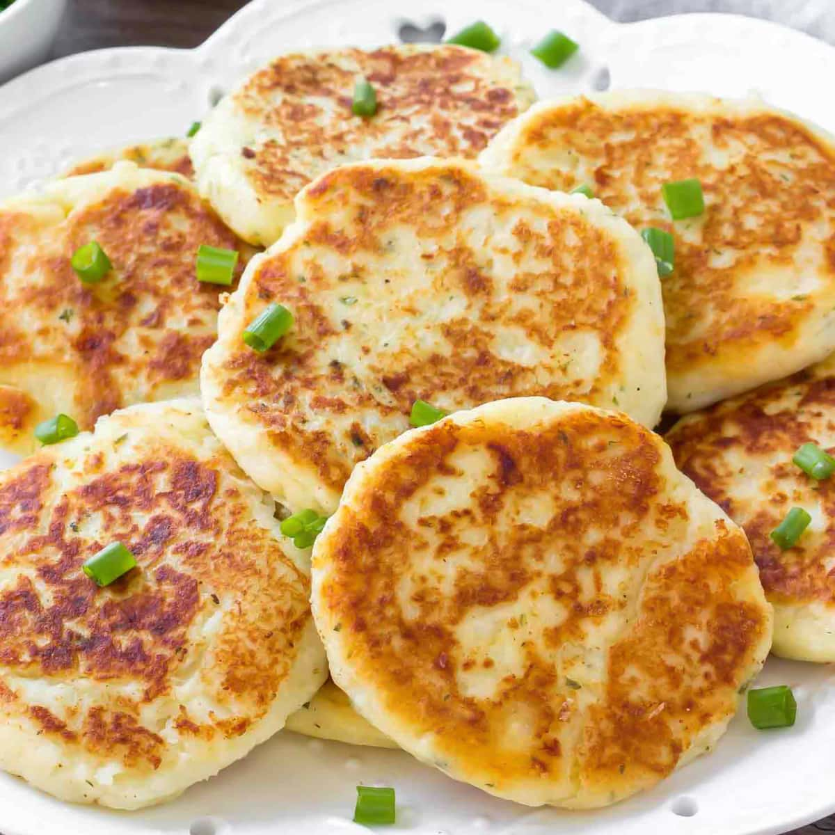 Mashed Potato Pancakes - on plate