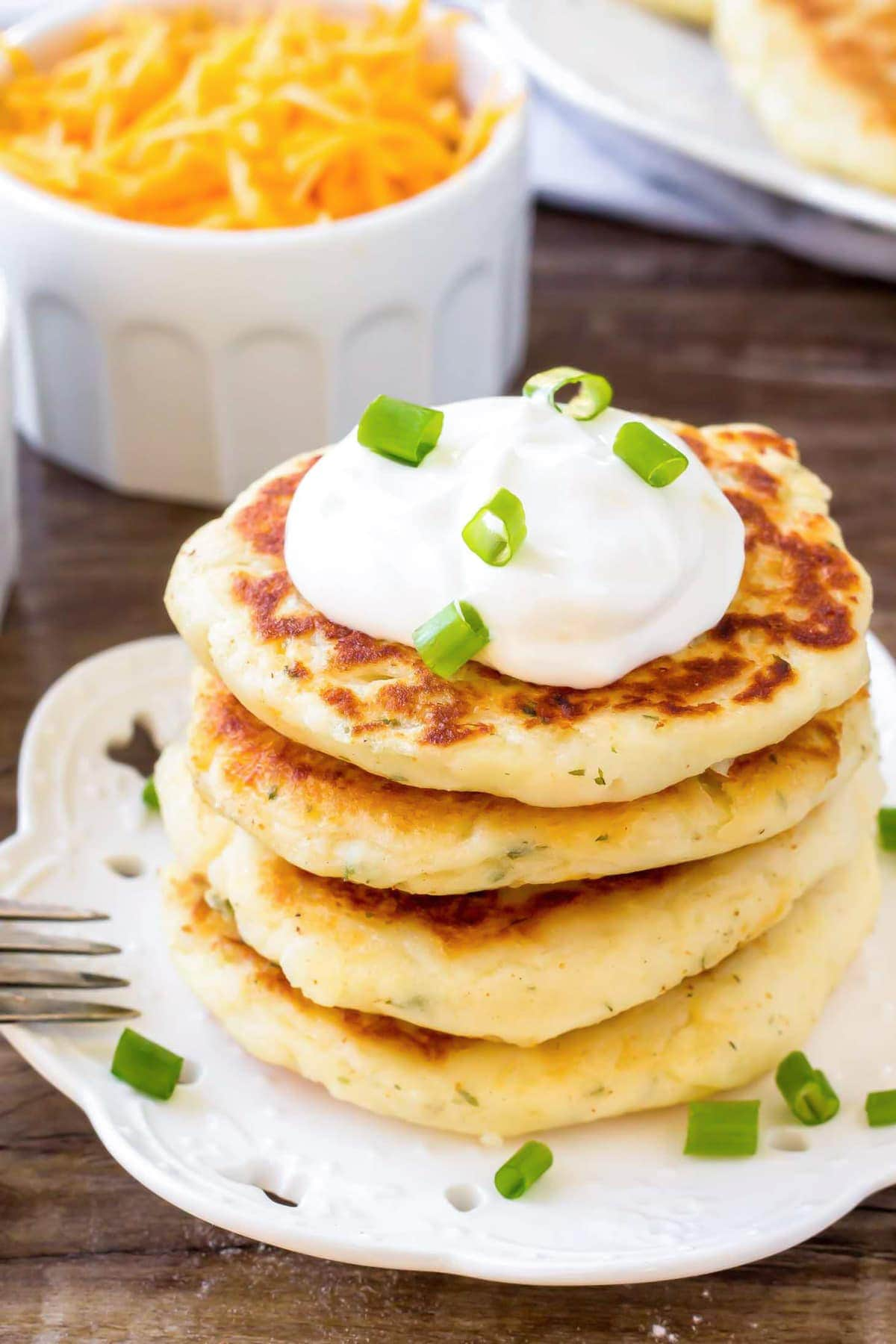 Potato Pancake Recipe stacked on plate.