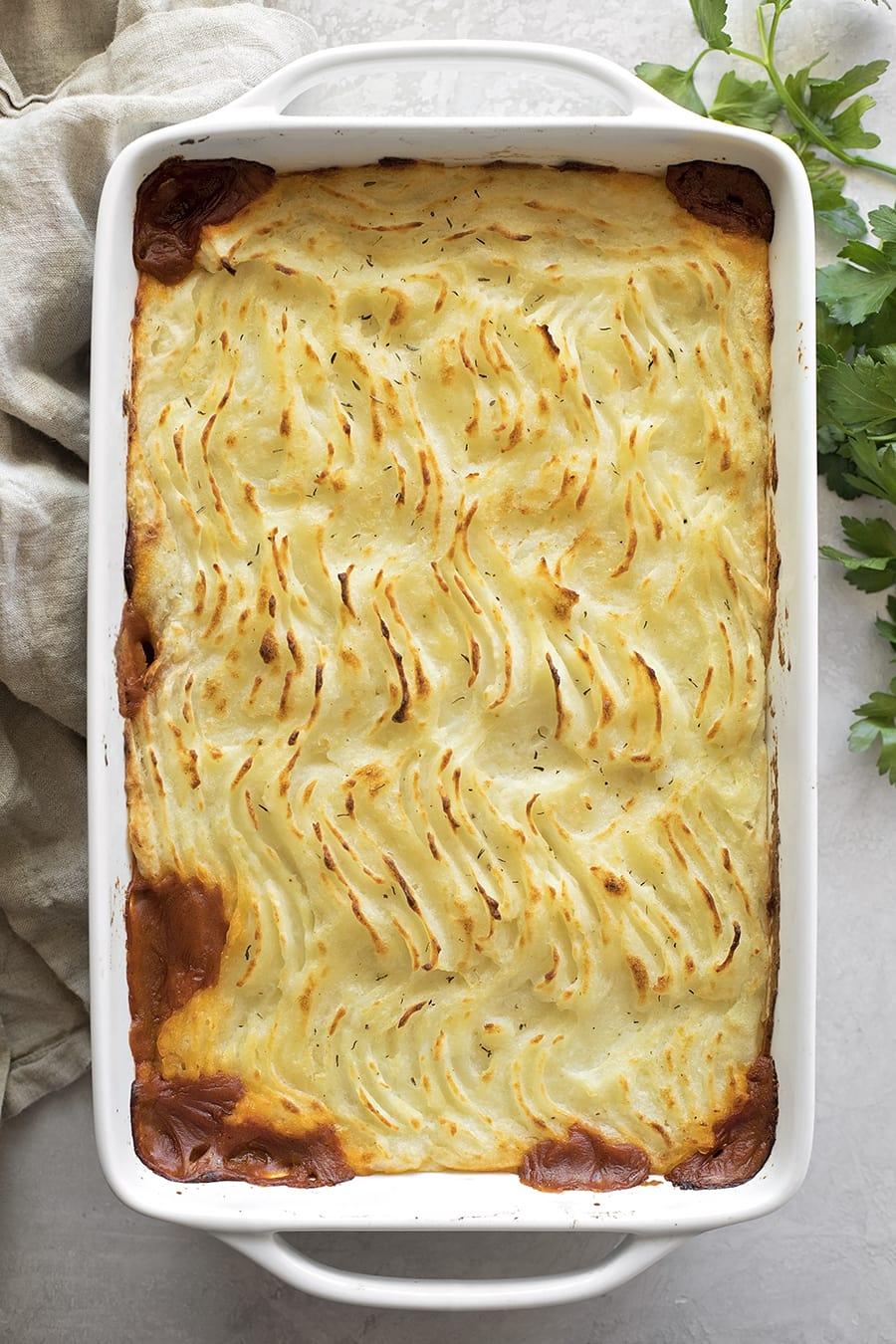 Shepherd's Pie Recipe in casserole dish
