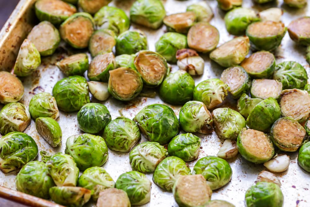 Brussel sprouts tossed in balsamic vinegar