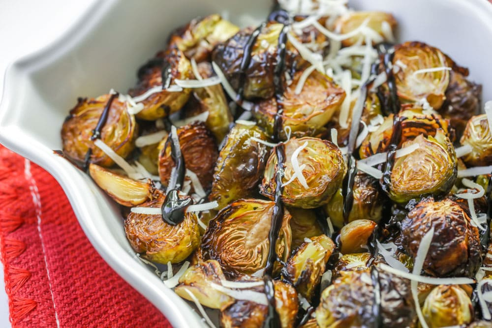 Easy balsamic brussel sprouts in dish