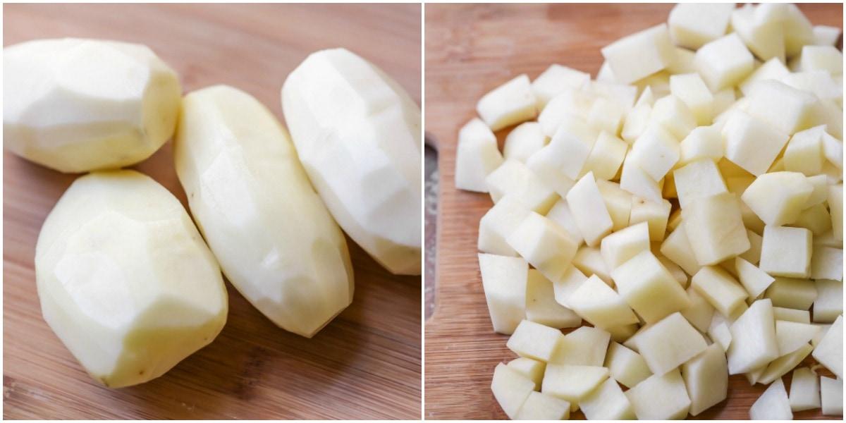 How to make breakfast potatoes - process pics of diced potatoes