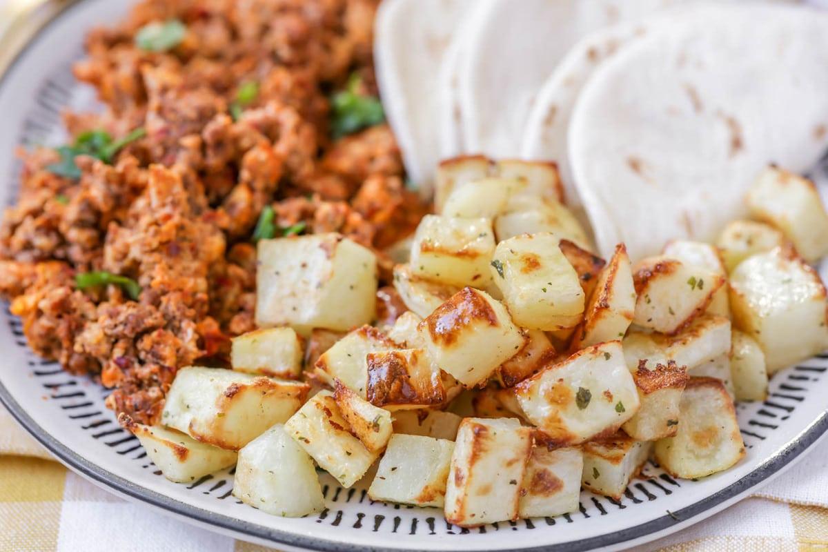 Breakfast potatoes on dish