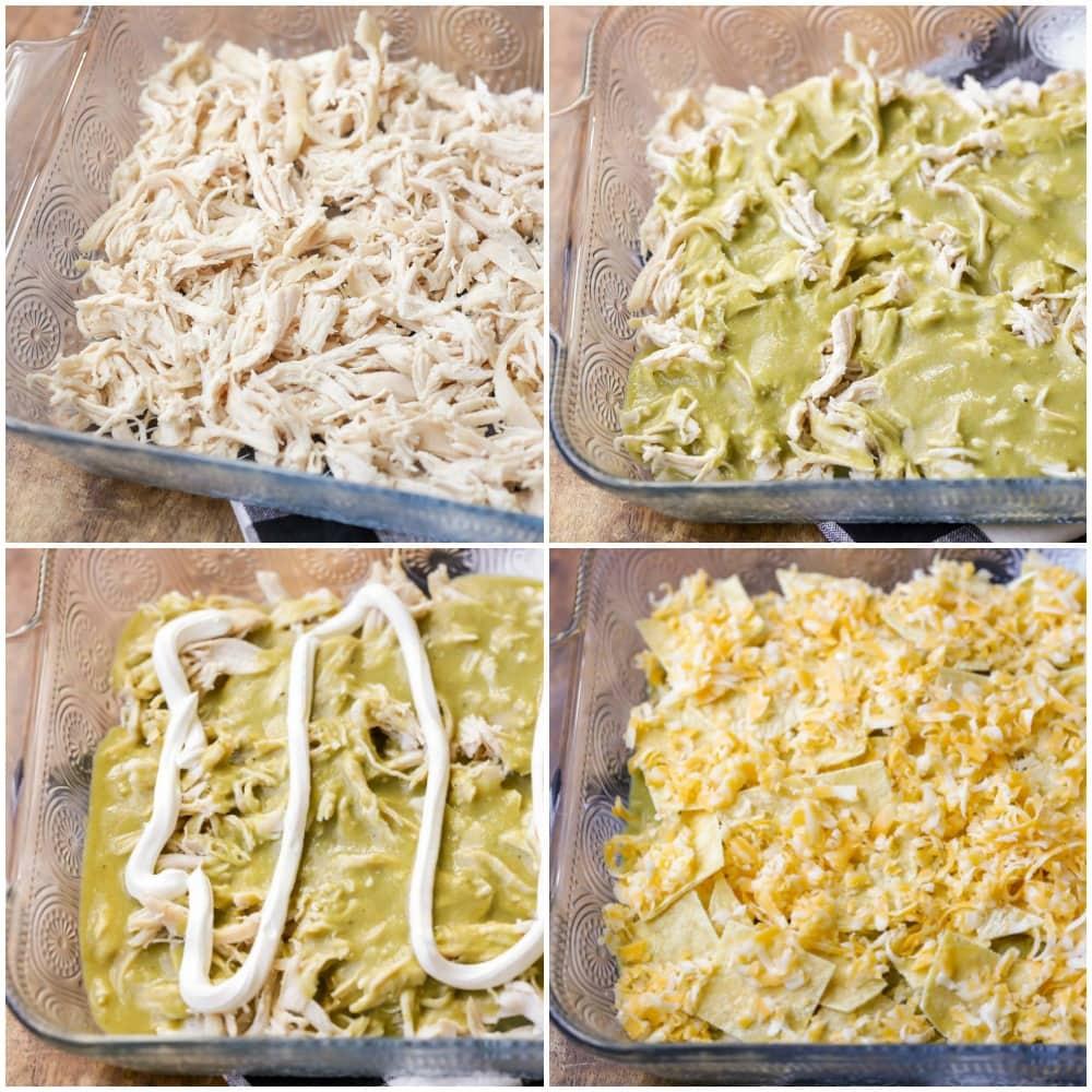Green chicken enchilada casserole layers