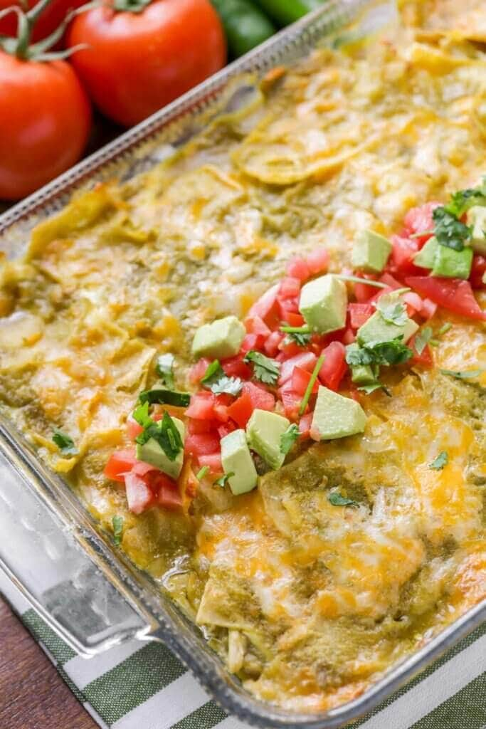 Green Chicken Enchilada Casserole Recipe Video Lil Luna