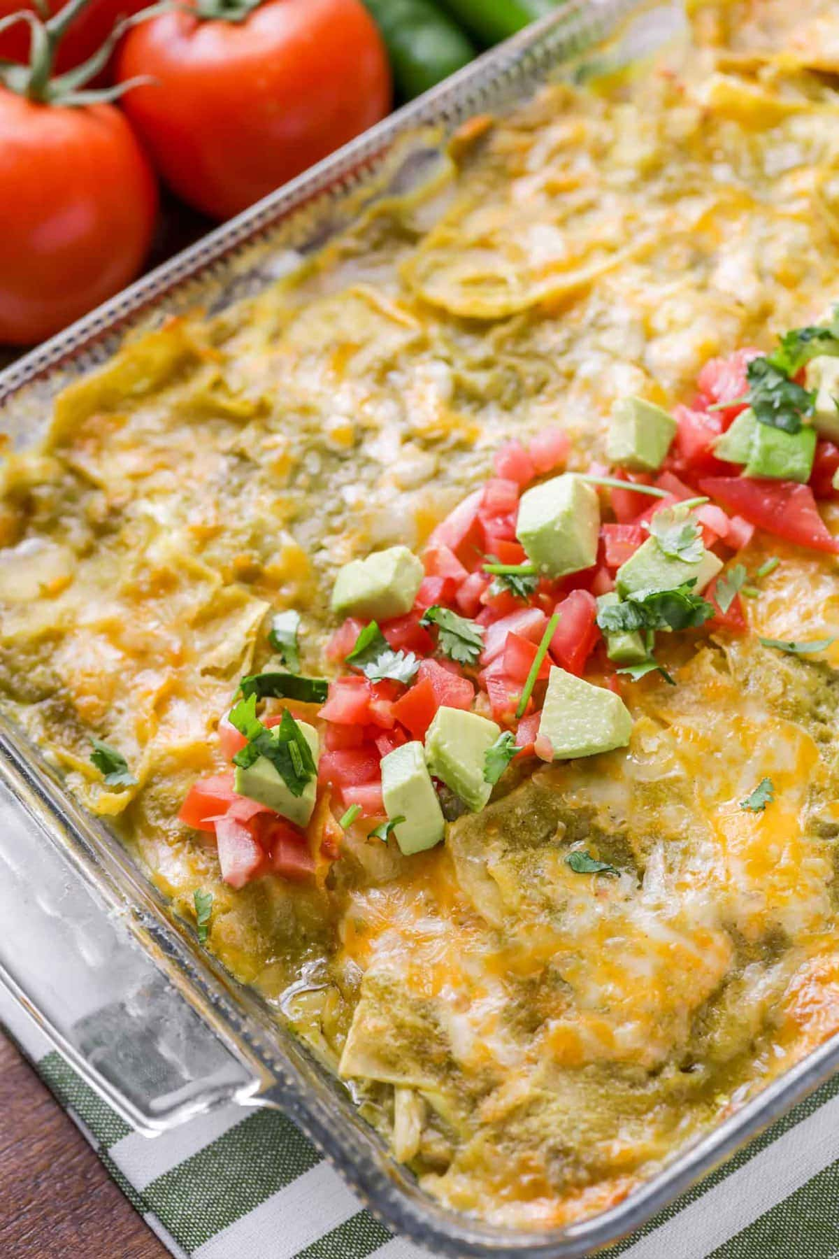 Chicken enchilada casserole with fresh toppings