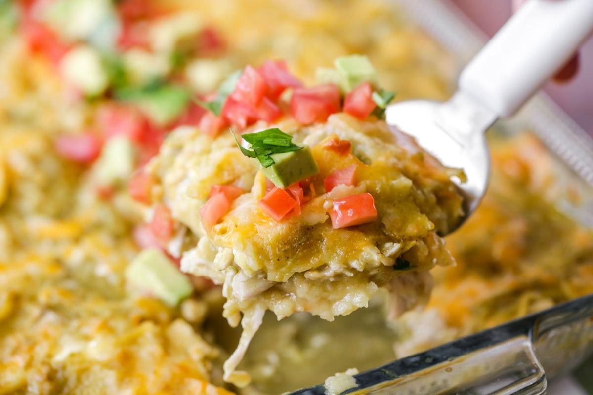 Chicken enchilada casserole in baking dish