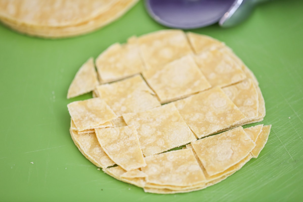 Corn tortilla slices for easy chicken enchilada casserole