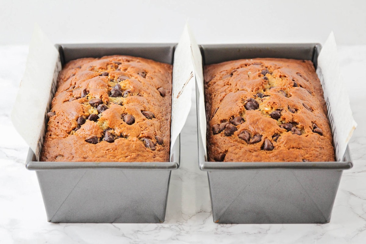 two loaves of the best chocolate chip banana bread recipe