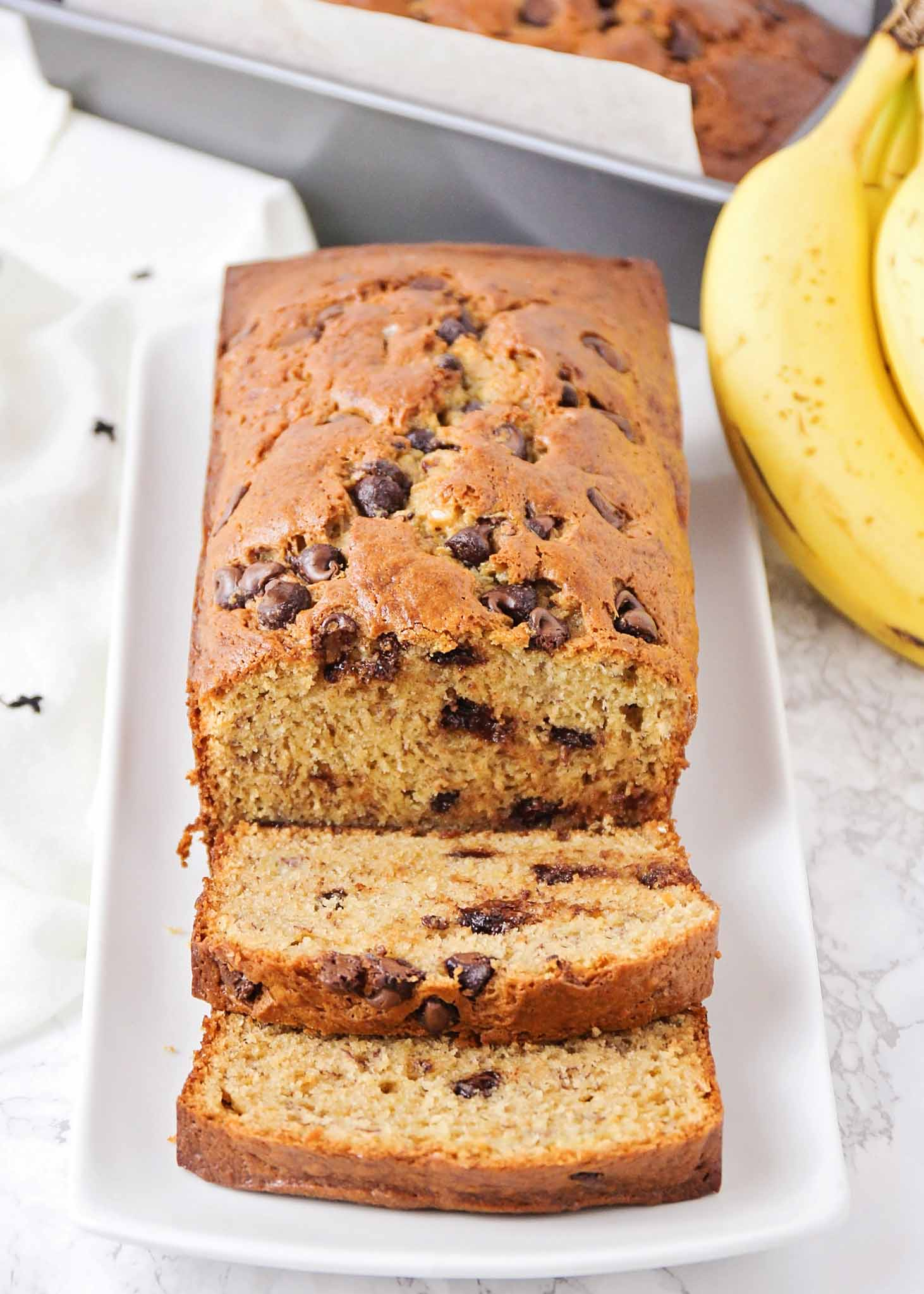 easy chocolate chip banana bread on a plate